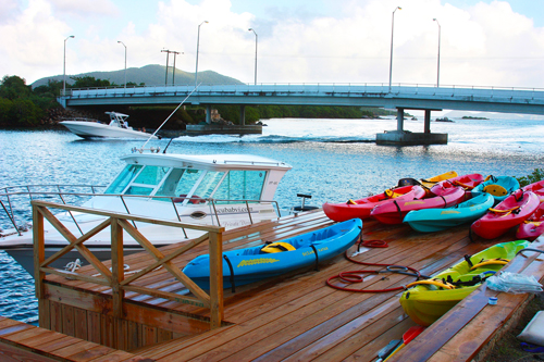 A view of the Beef Island Bridge from UBS Dive Center on Tortola. Photo by Julian Putley