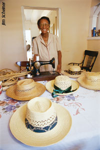 Estelle Dawson with some of her beautifully crafted hats