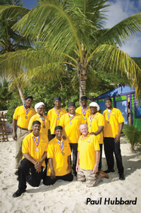 The Culinary Team pose on Cane Garden beach