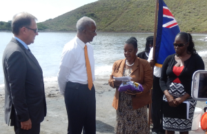 Governor Duncan(left) and Premier Smith (center) received a pouch of salt